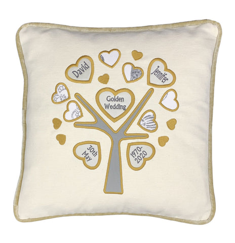 Ivory cushion appliqued heart tree personalised with names, dates and event in the centre handmade by the Odd Bobbin