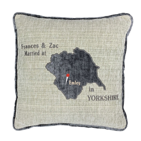 Personalised Appliqued Yorkshire map cushion with location and pin markers by The Odd Bobbin