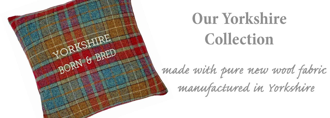 Yorkshire born and bred wool cushion