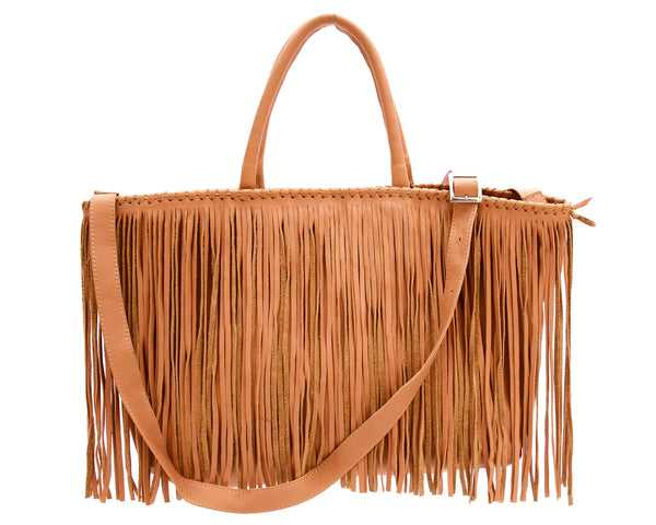 Jennifer Haley - Fringe Tote Shopper - Tan - Jennifer Haley Handbags