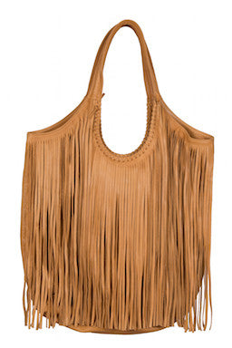 Jennifer Haley - Large Fringe Sophisticated Shopper - Tan - Jennifer Haley Handbags