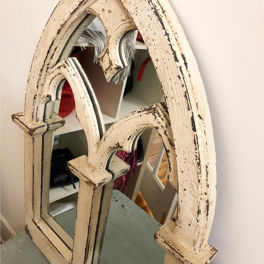 Distressed Wood Arch Mirror - Jennifer Haley Handbags