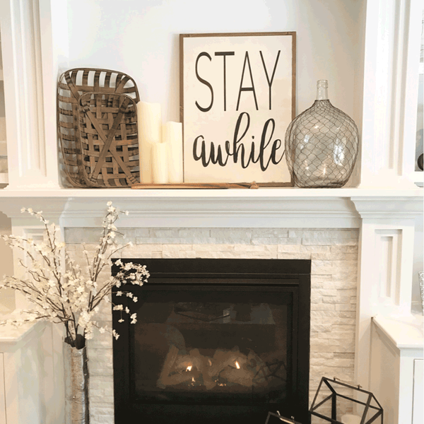 Stay Awhile Wooden Sign - Jennifer Haley Handbags