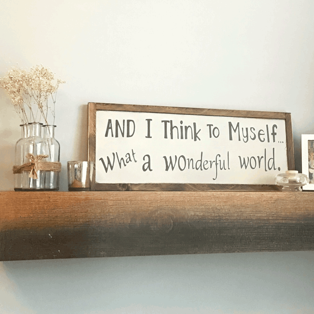 Wonderful World Wooden Sign - Jennifer Haley Handbags