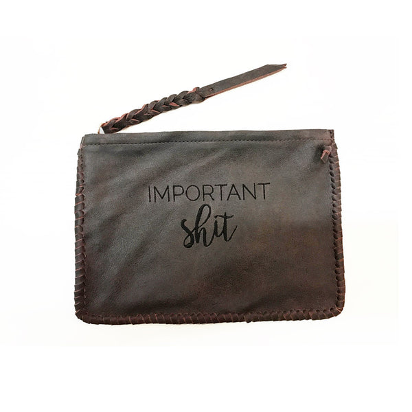 Stitched Leather Pouch - Important Shit - Jennifer Haley Handbags