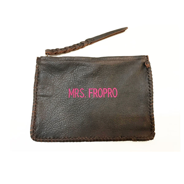 Personalized Stitched Leather Pouch - Jennifer Haley Handbags