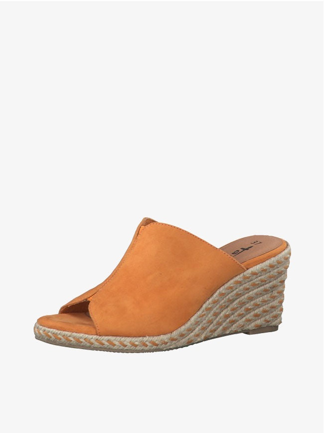 Orange Sunset Suede Wedges