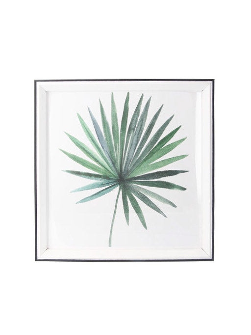Acrylic Framed Print Square - Watercolour Fan Palm