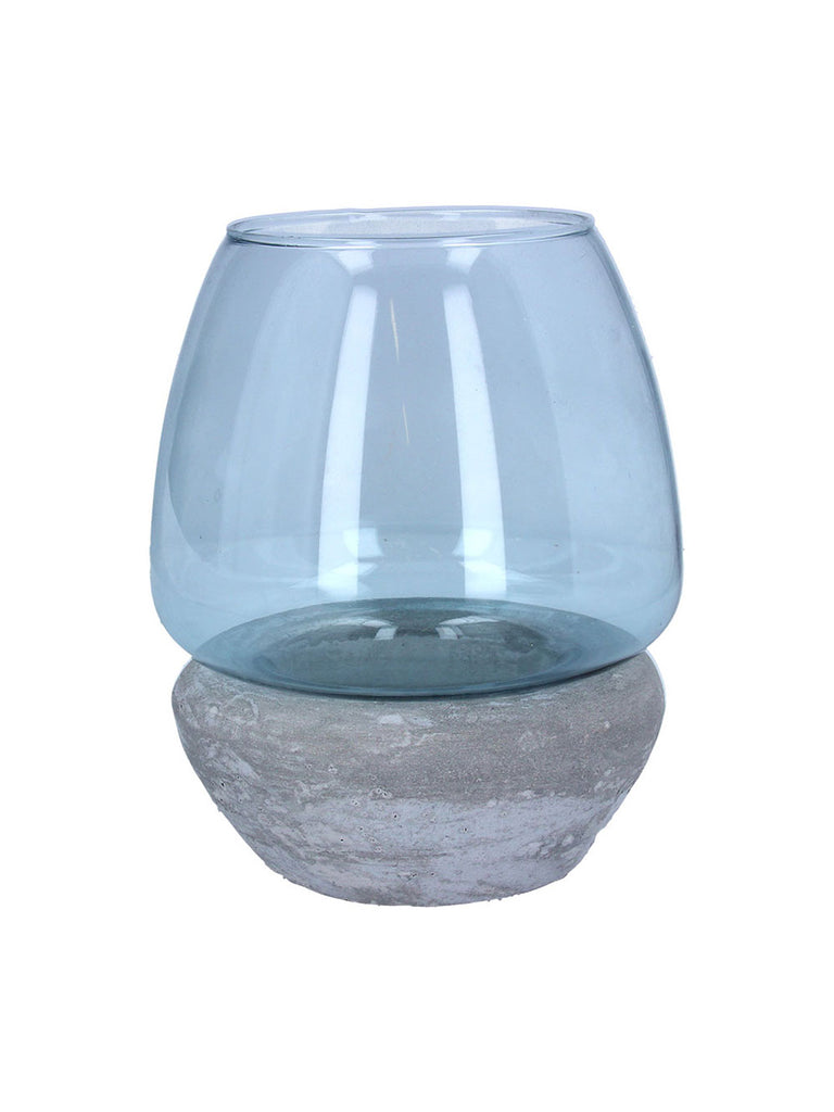 Blue Glass Concrete T-Light Holder
