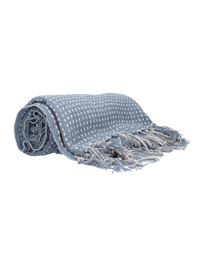 Blue Woven Stab Stitch Cotton Throw