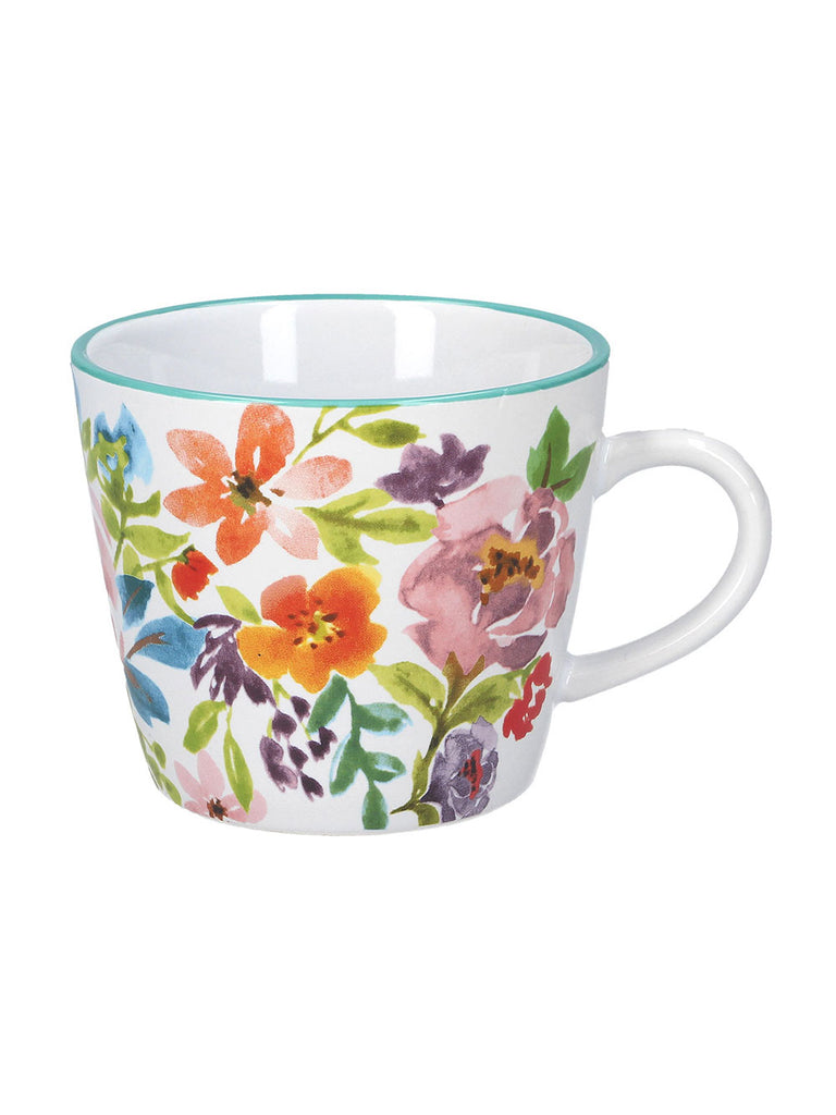 Ceramic Mug White - Bright Peonies