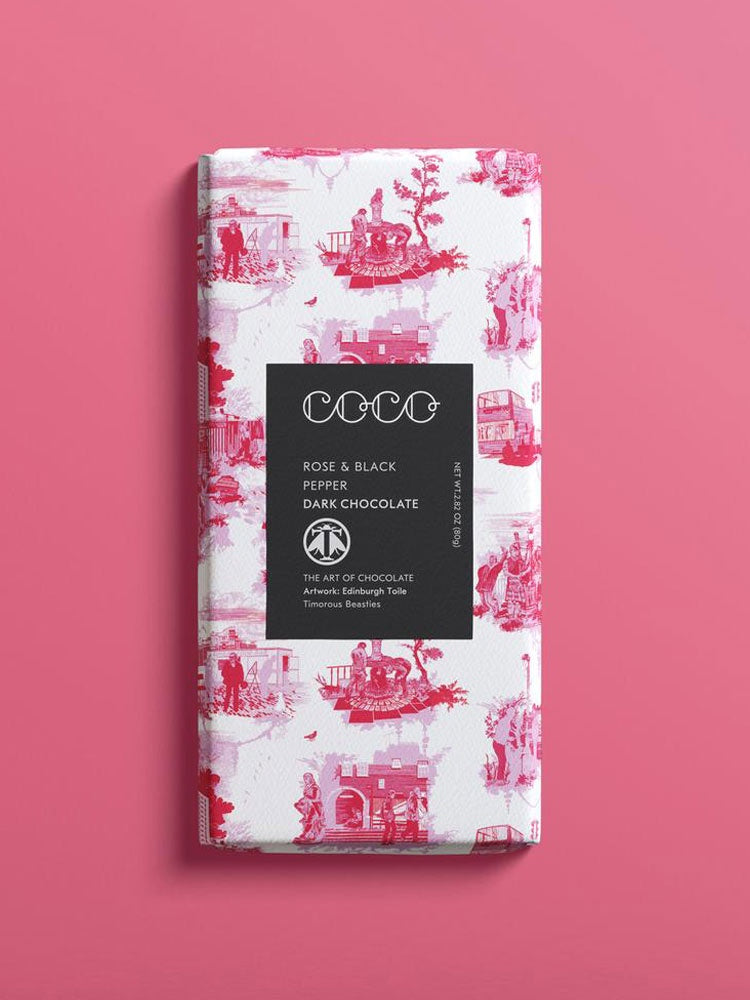 Rose & Black Pepper Dark Chocolate Bar 80g