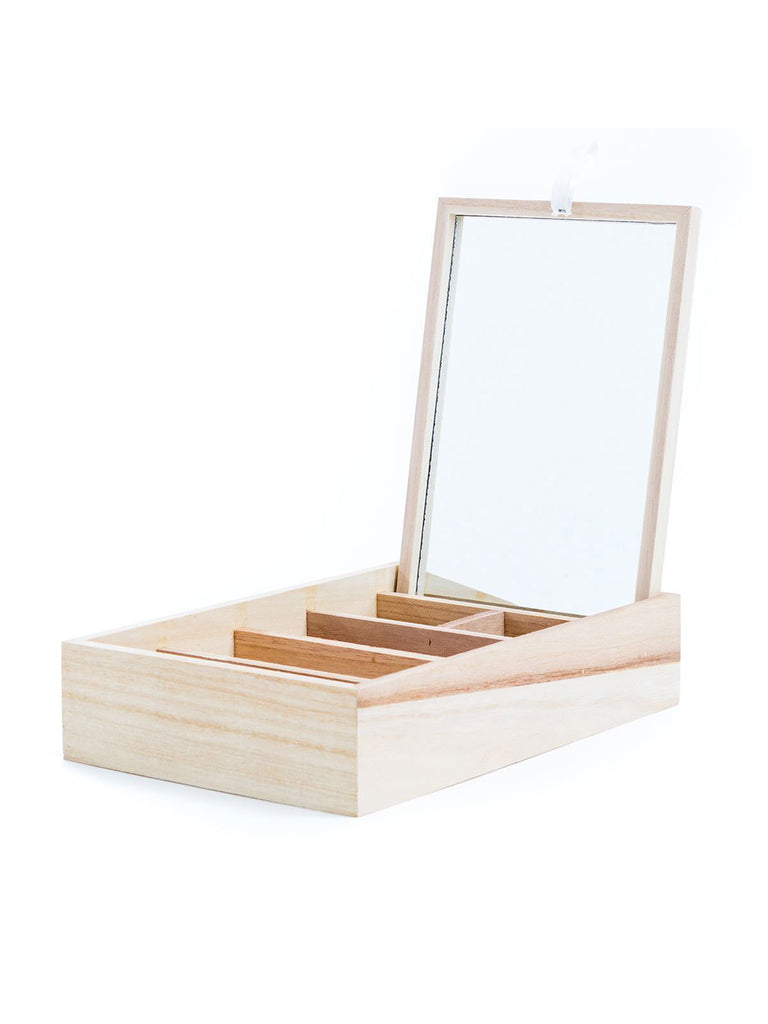 Wooden Trinket Box And Mirror - Car & Kitchen