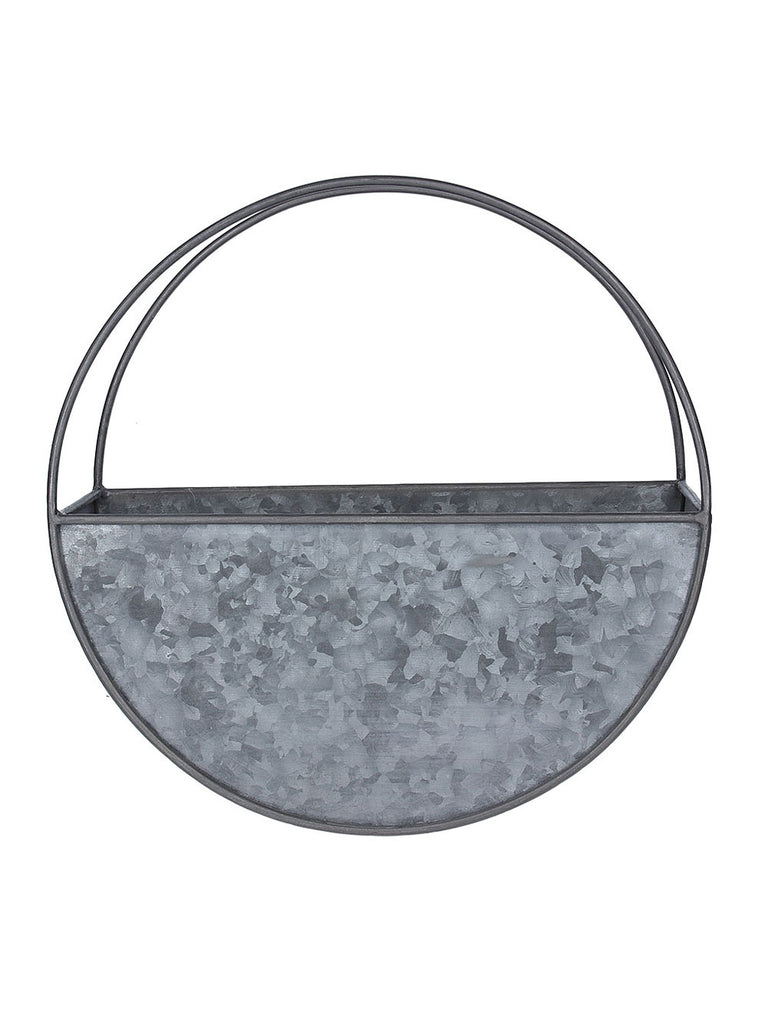 Galvanised Metal Wall Mount Round Planter