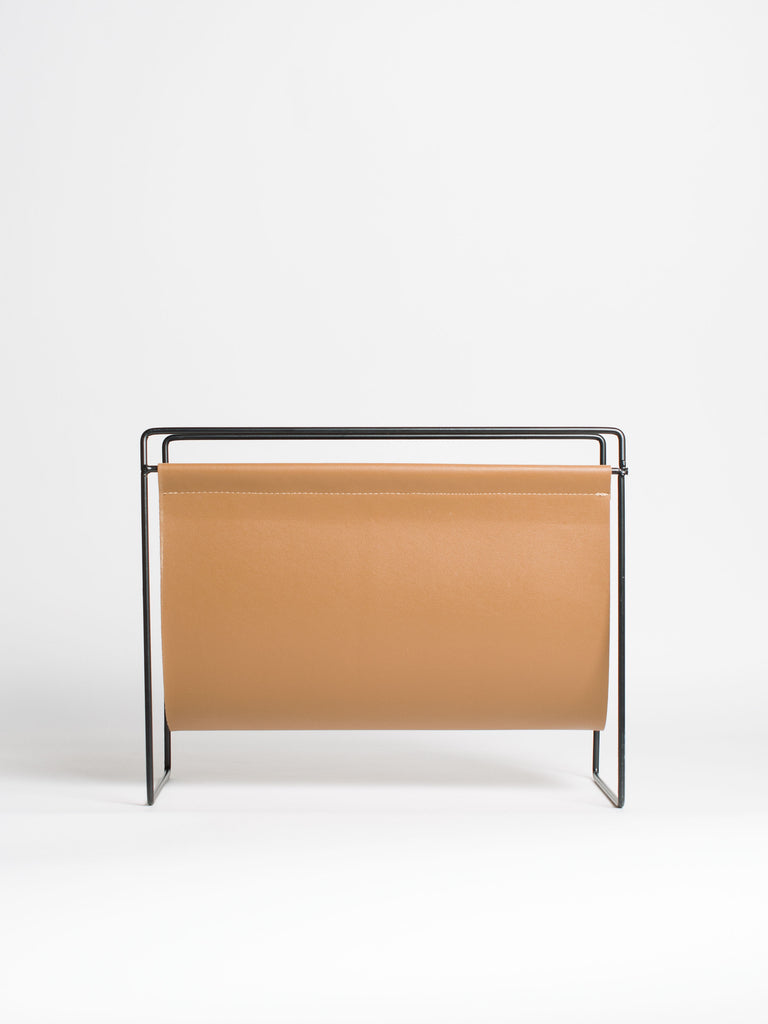 Brown Faux Leather Metal Magazine Rack