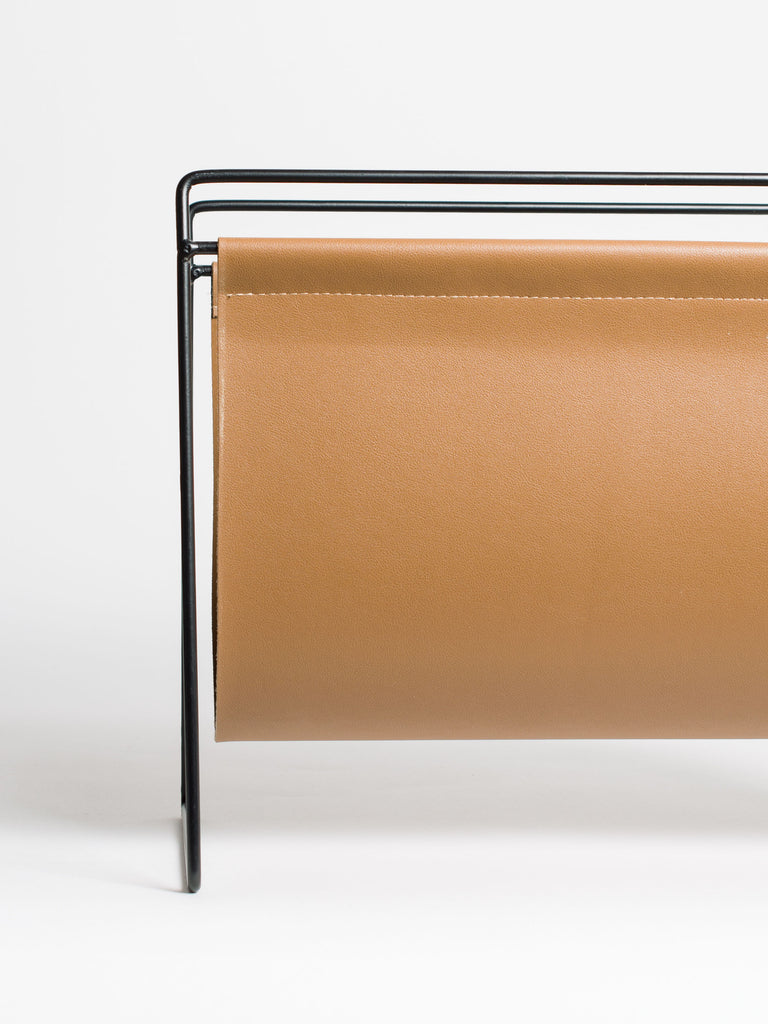 Brown Faux Leather Metal Magazine Rack - Car & Kitchen
