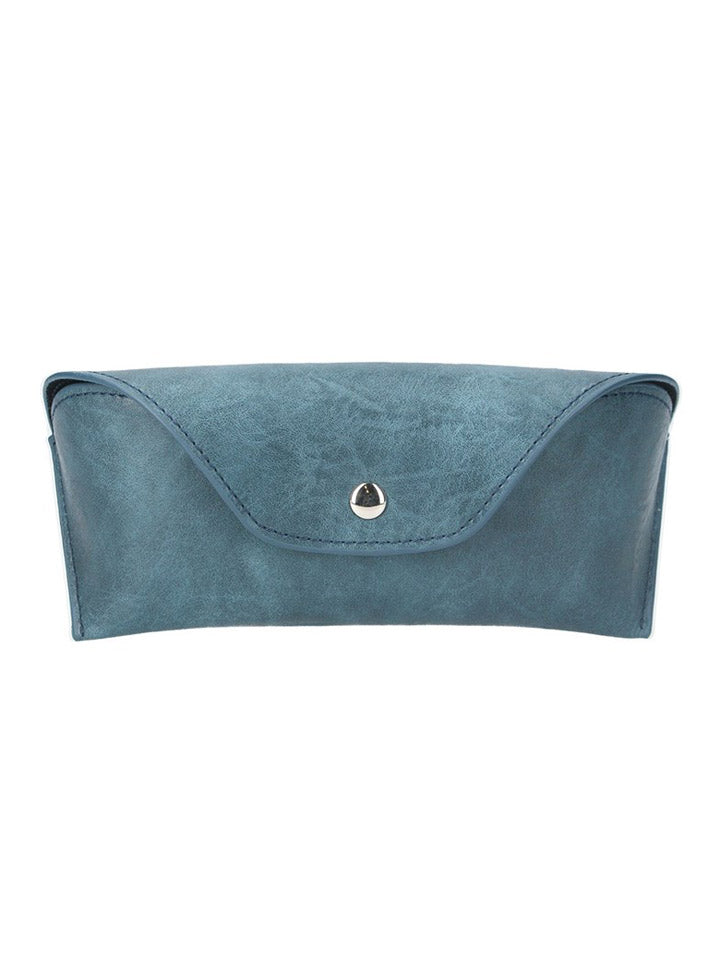 Leather Effect Glasses Case - Petrol Blue