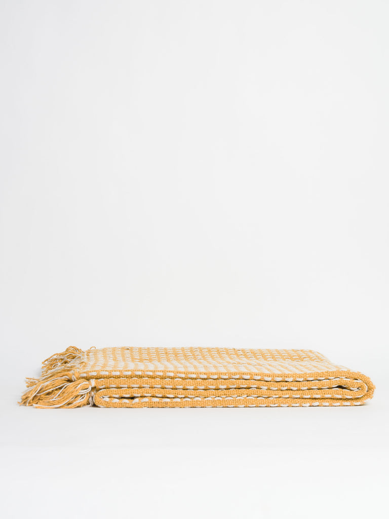 Mustard Woven Stab Stitch Cotton Throw