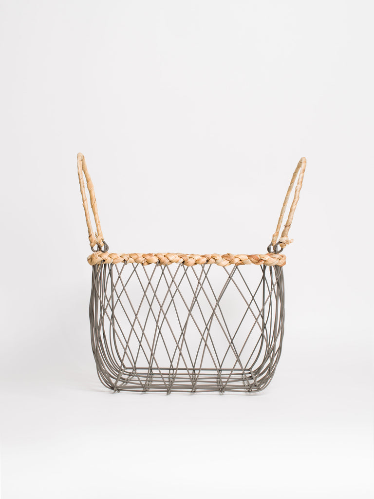 Square Wire Basket Woven Trim Small - Car & Kitchen