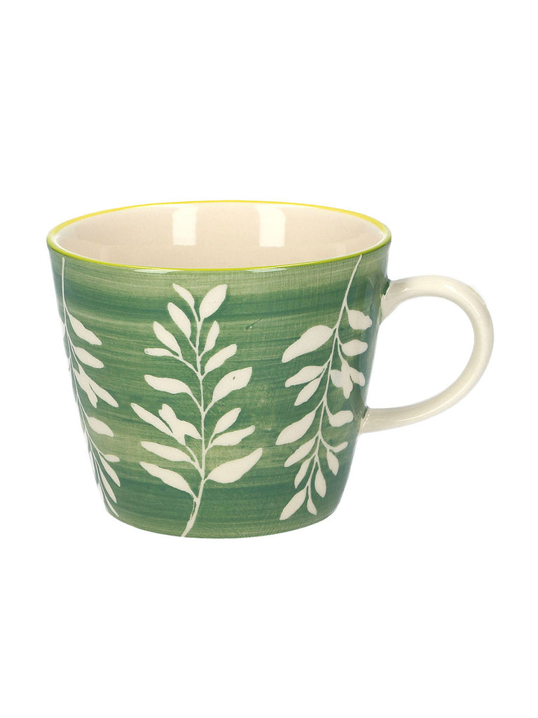 Green Leaves Silhouette Ceramic Mug