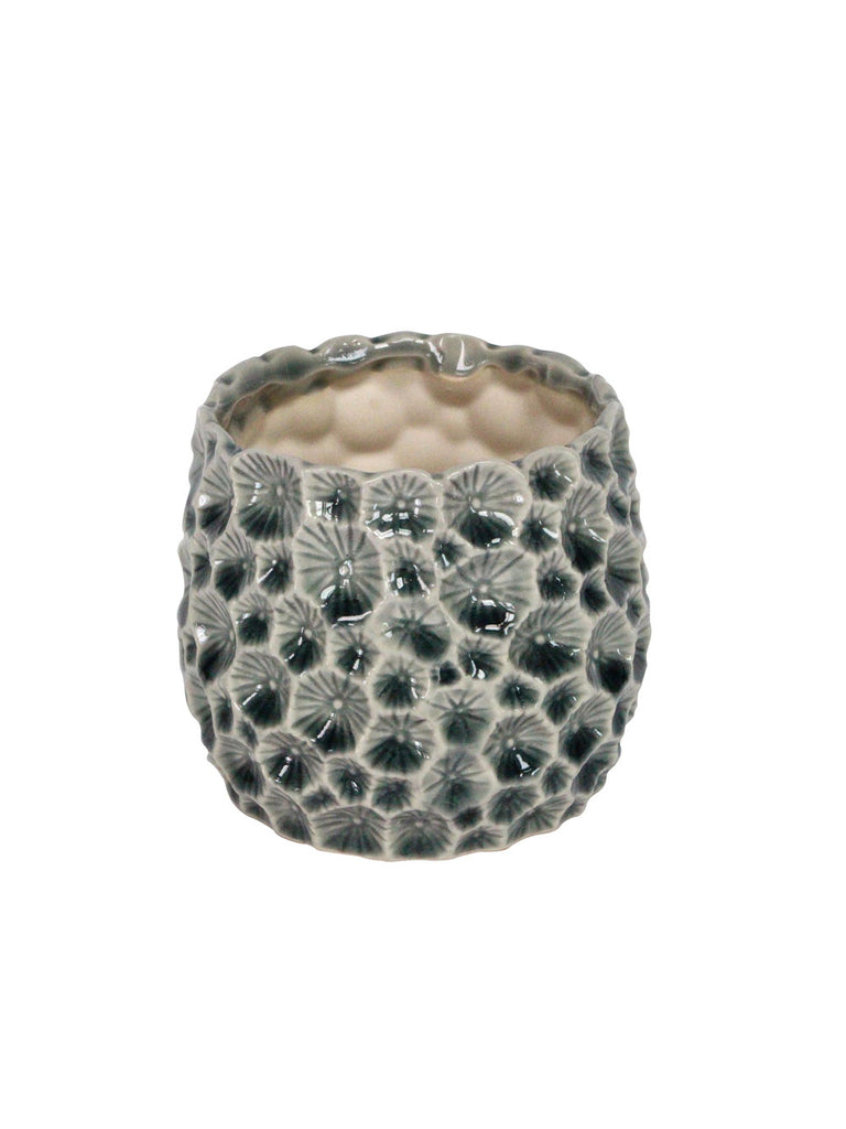 Grey Ceramic Crater Design Pot Small