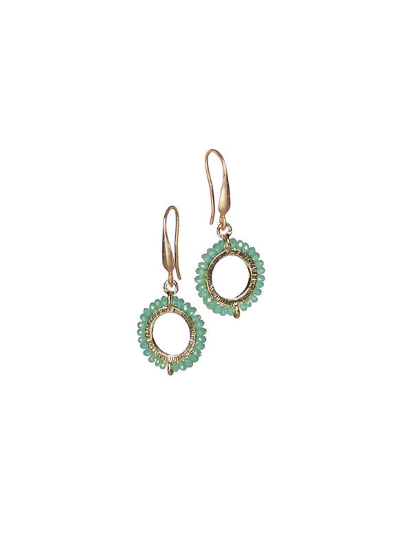Crystal Circle Earrings - Silver/Aqua