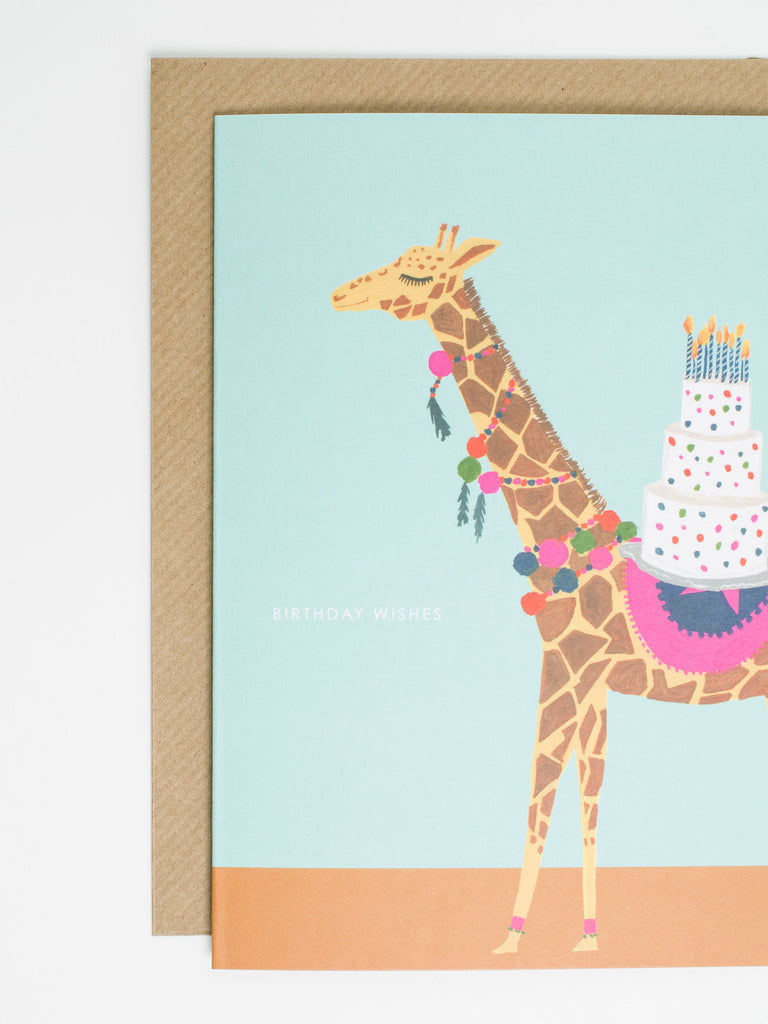 Giraffe Pom Pom Card - Car & Kitchen