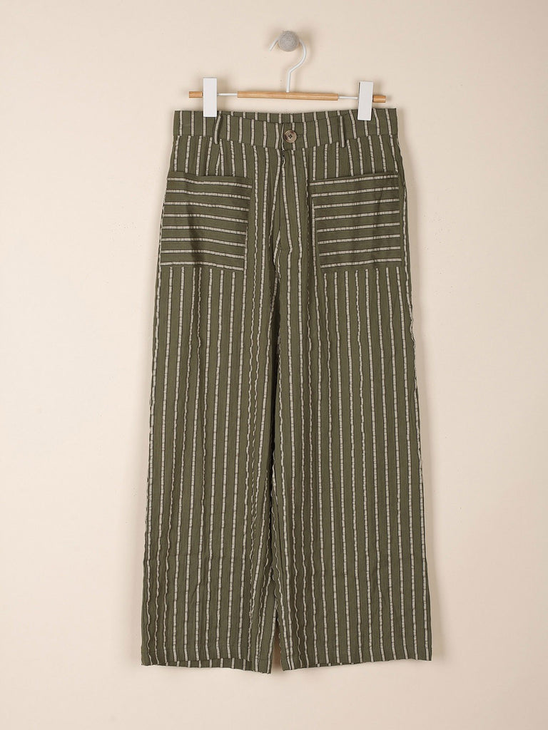 Khaki Seersucker Effect Stripe Cotton Culotte