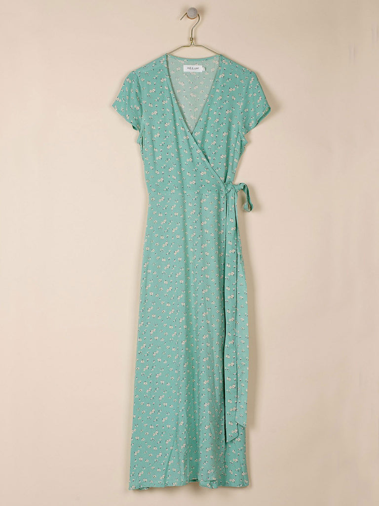 Mint Green Ditsy Print Vestido Wrap Dress
