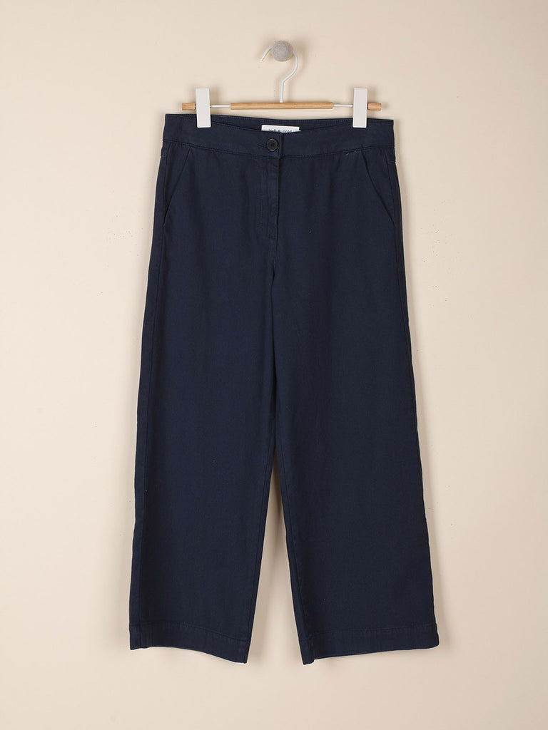 Navy Crop Cotton Trousers Marino