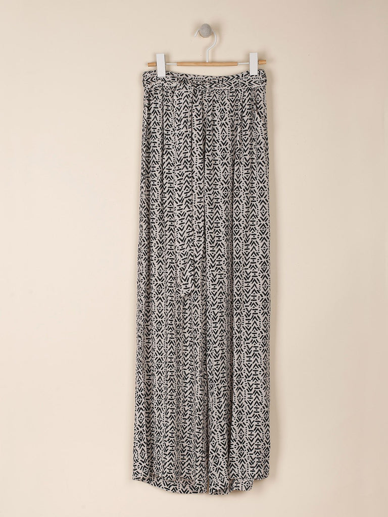 Oatmeal Fluid Wide Trousers with Ethnic Print