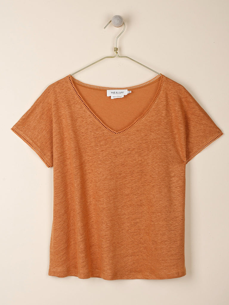 Tan Camiseta V- Neck T-Shirt