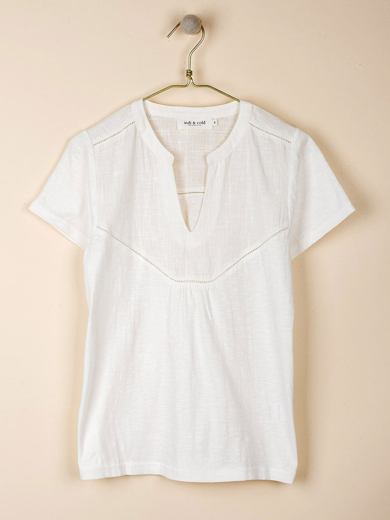 White Combined Cotton T-shirt