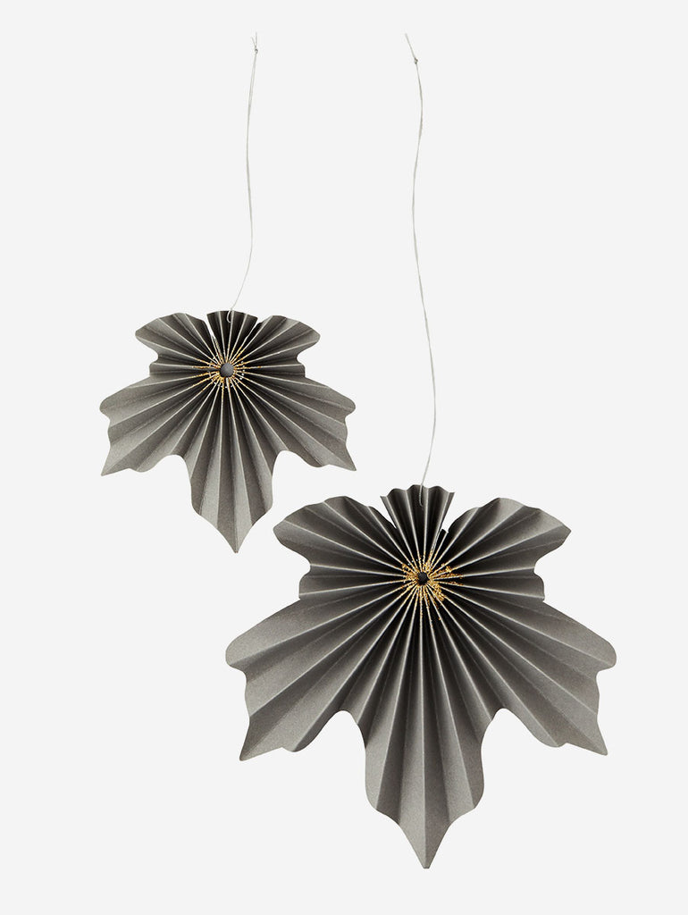 Paper Leaves Decoration- Grey/Gold