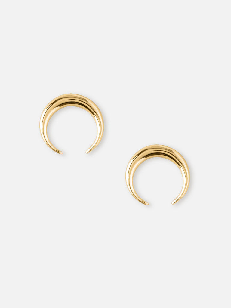 Mini Crescent Stud Earrings - Gold - Car & Kitchen