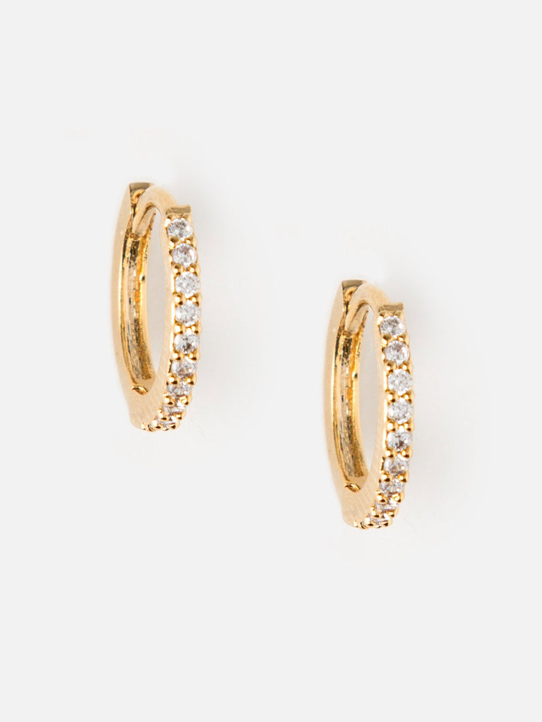 Mini Pave Huggie Hoop Earrings - Gold - Car & Kitchen