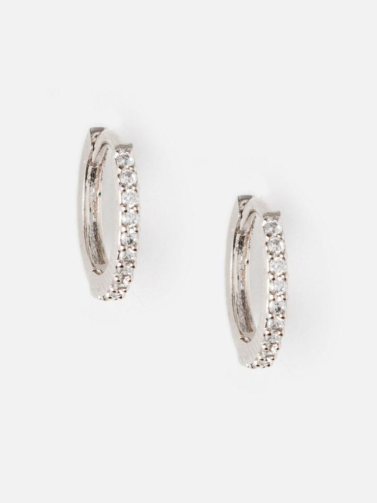 Mini Pave Huggie Hoop Earrings - Silver - Car & Kitchen