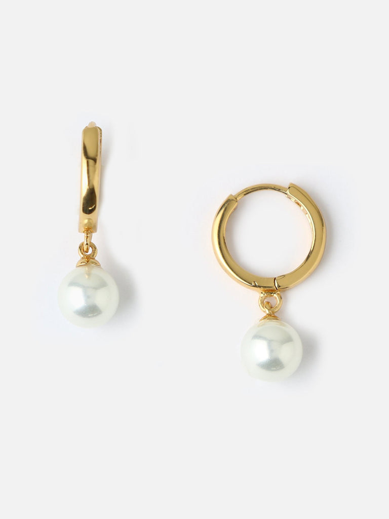 Pearl Drop Huggie Hoop Earrings - Car & Kitchen