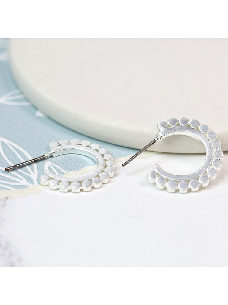 Flat Dotty Hoop Earrings in Brushed Silver