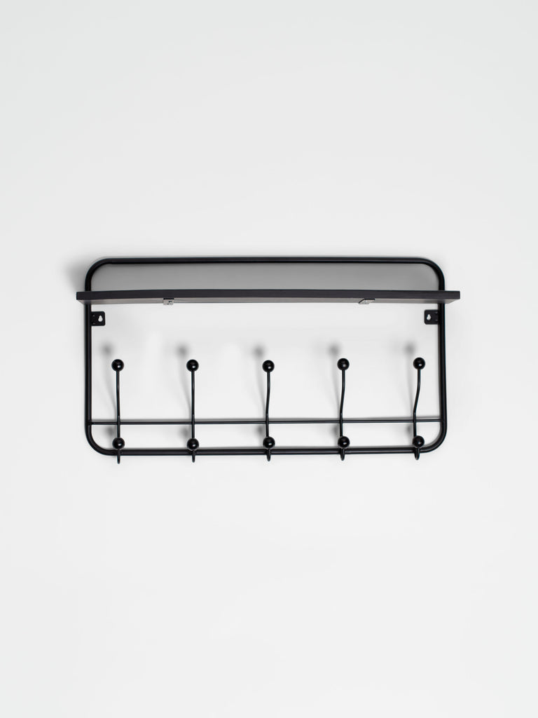 Coat Rack Iron Black With Black Shelf - Car & Kitchen