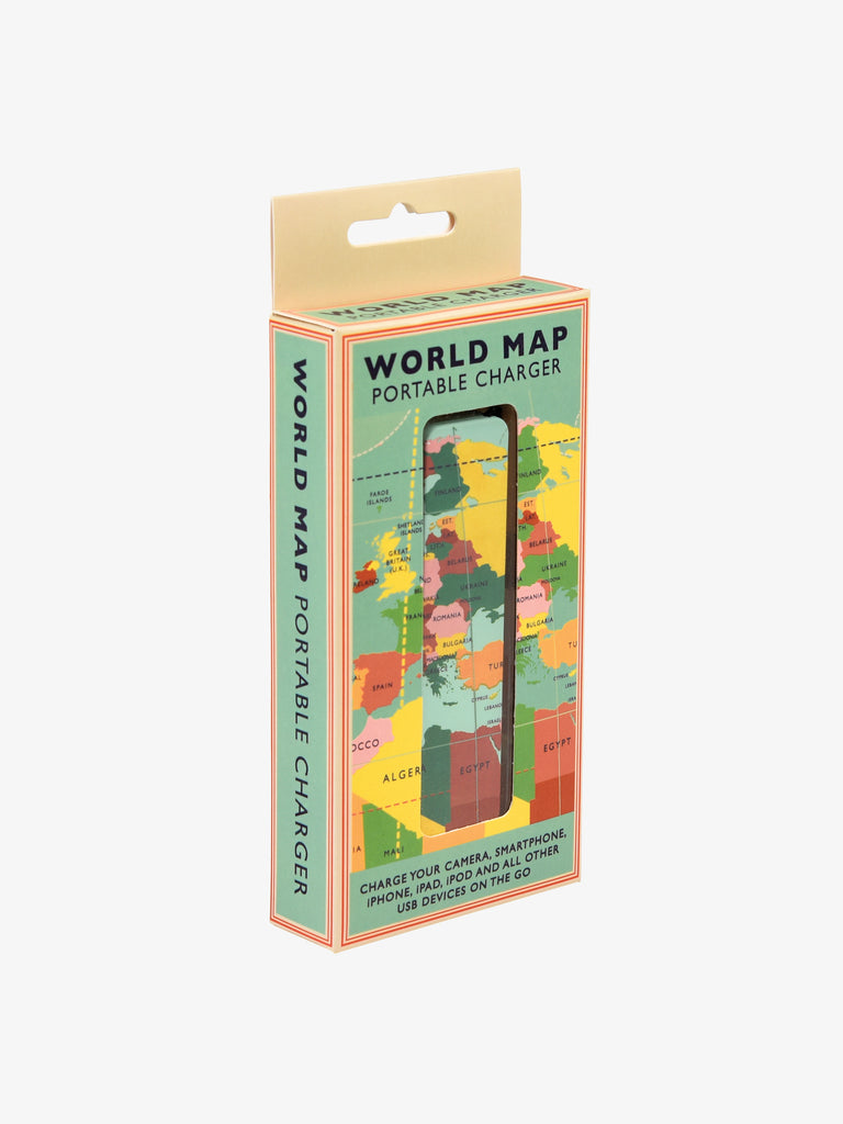 World Map Portable USB Charger