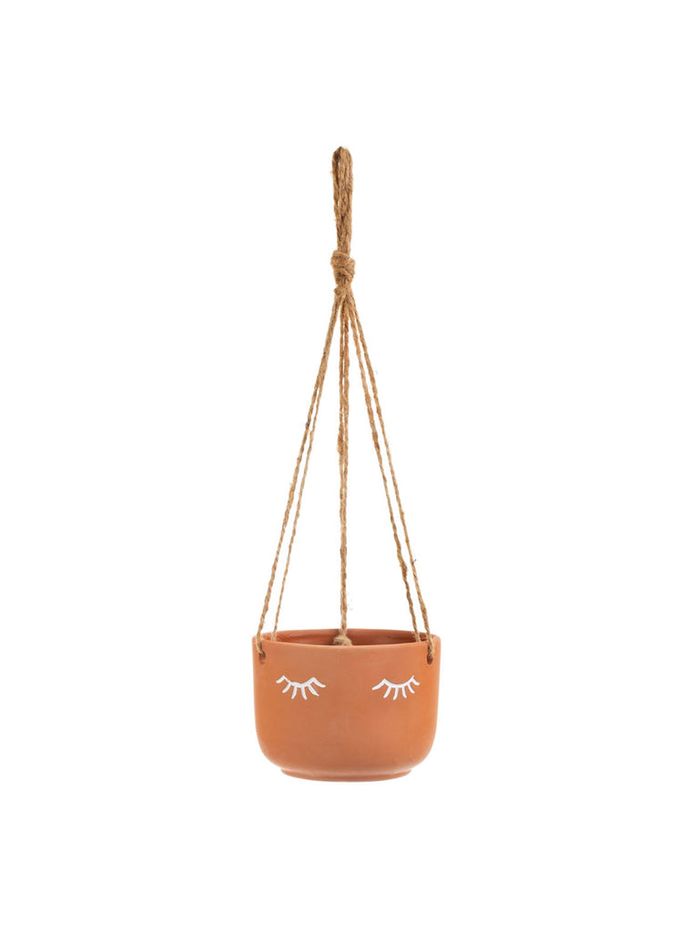 Eyes Shut Terracotta Hanging Planter - Car & Kitchen