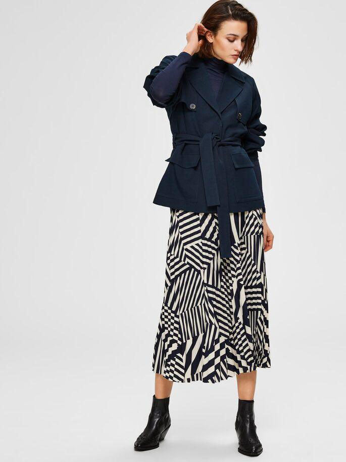 Alexis Navy Patterned Midi Skirt