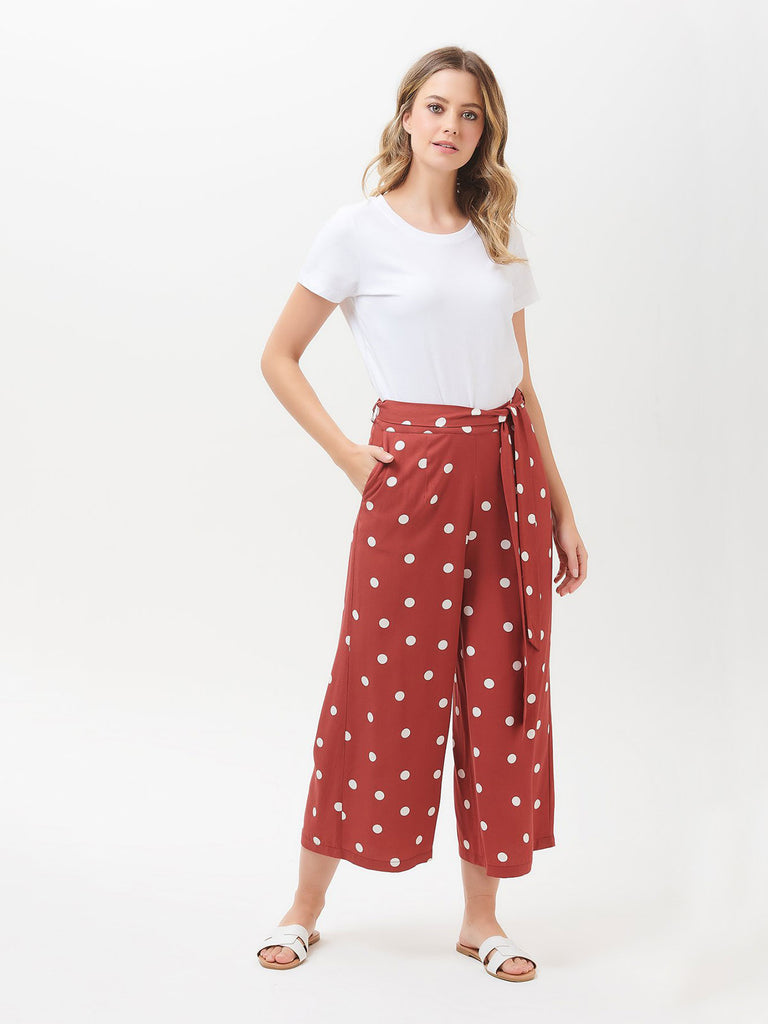 Ottilie polka cropped wide leg trousers