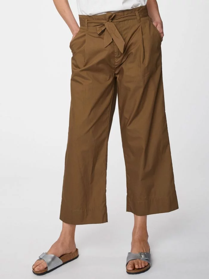 Khaki Wide Leg Maddelena Trousers