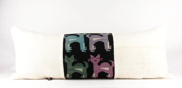 Cats in Black Pillow  Large Lumbar