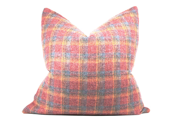 maroon plaid pillow