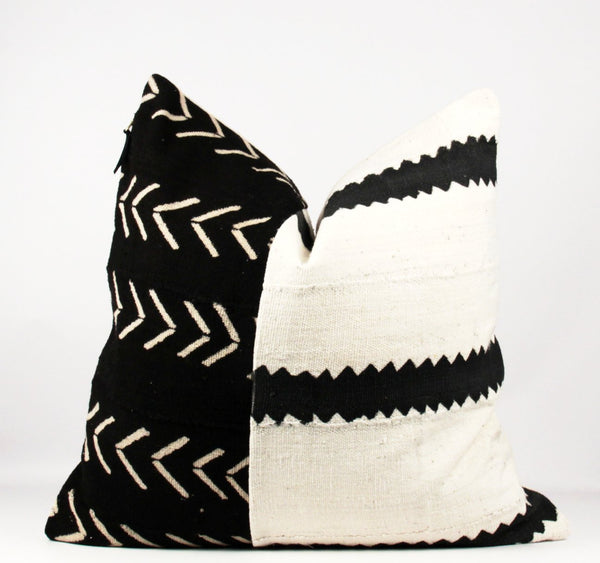 mixed black and white mud cloth pillow