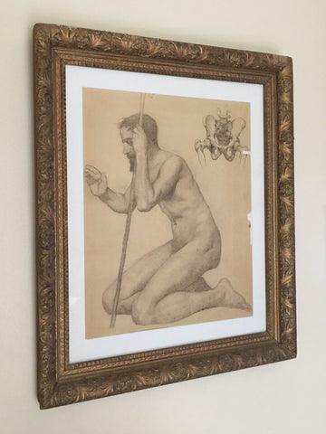 Original Victorian 1800's Framed Figure Drawing 19th Century Anatomy Study Art Glass