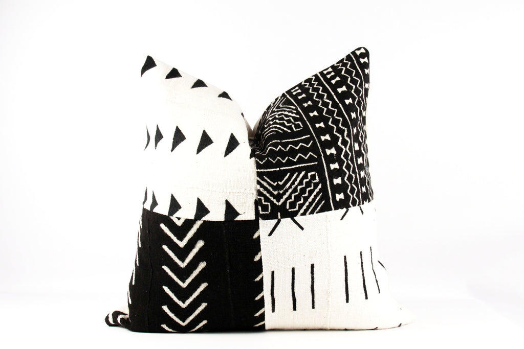 quilted African mud cloth pillow